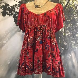 Free People Red Floral Sexy Peasant Top